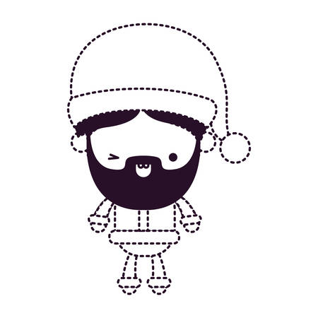A cute Santa Claus cartoon smiling with hat on dotted monochrome vector illustration.