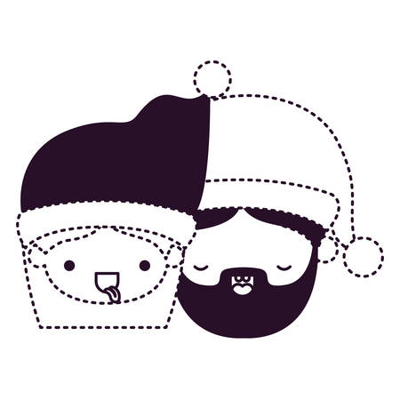 A Santa Claus couple cartoon faces tongue out and man with eyes closed on dotted monochrome silhouette vector illustration.