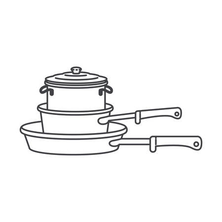 Stew pan and cooking pot stack silhouette vector illustration