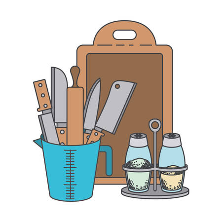 A kitchen utensils on container with chopping board, salt and pepper on white background.