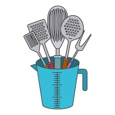 A jar with kitchen utensils on white background.