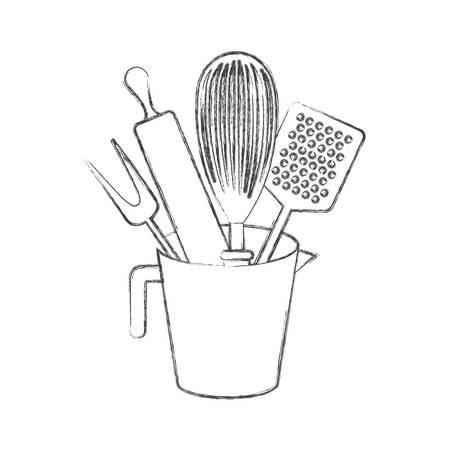 台所用品とローラー ピン モノクロぼやけたシルエット ベクトル図瓶します。