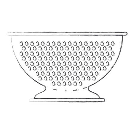 hole: A kitchen drainer flat monochrome blurred silhouette vector illustration.