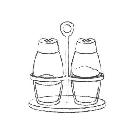 salt and pepper containers monochrome blurred silhouette vector illustration