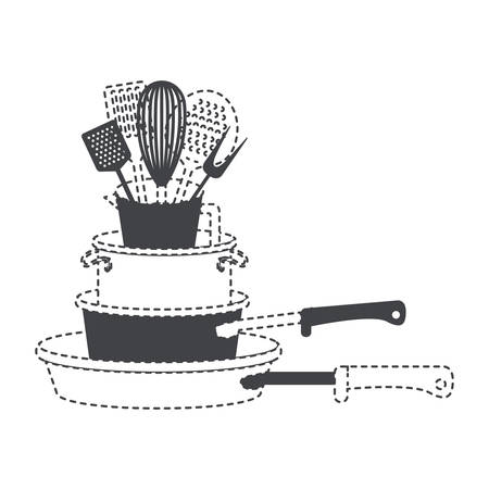 A stew pan stack and kitchen utensils black silhouette and dotted contour vector illustration.