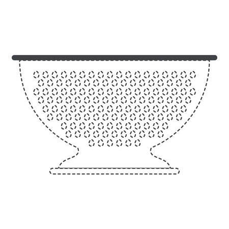 hole: A kitchen drainer utensil black silhouette and dotted contour vector illustration. Illustration