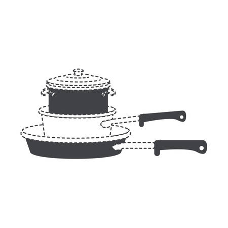 A stew pan and cooking pot stack black silhouette and dotted contour vector illustration.