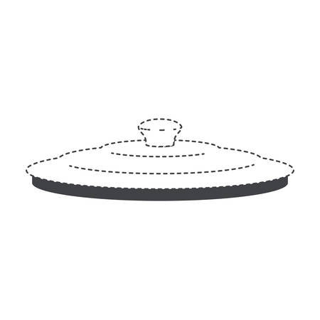 A pan lid flat black silhouette and dotted contour vector illustration. Illustration