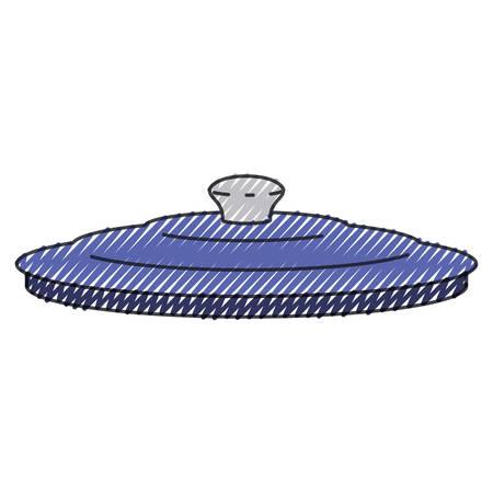 Pan lid utensil colored  silhouette vector illustration Illustration