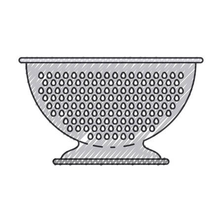 hole: A kitchen drainer utensil on white background. Illustration