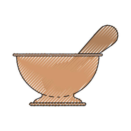 chinese food container: A kitchen bowl utensil colored crayon silhouette vector illustration.