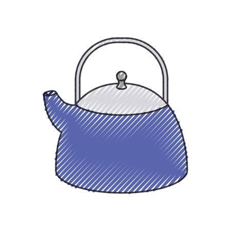 A kettle jar utensil colored crayon silhouette vector illustration.