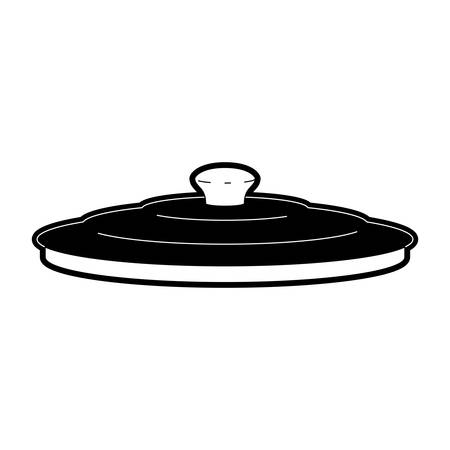 Pan lid flat style in black silhouette illustration