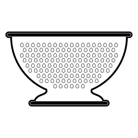 hole: A kitchen drainer utensil black silhouette vector illustration.