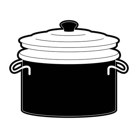 A cooking pot with lid black silhouette illustration. Illustration