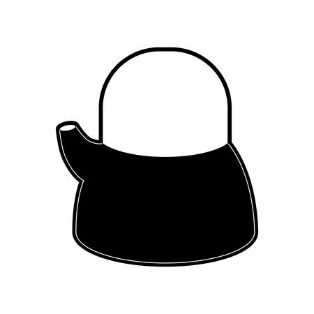 appliance: A kettle jar flat black silhouette vector illustration. Illustration