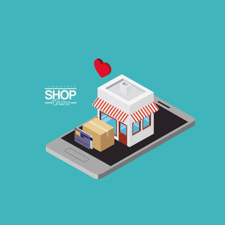store with striped sunshade red and white and cardboard box and credit cards over smartphone colorful poster isometric shop online vector illustration Illustration
