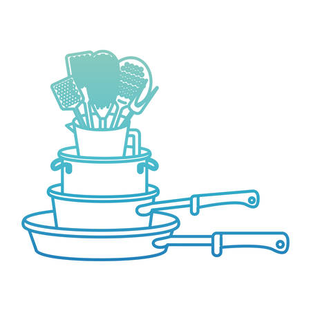 A stew pan stack and kitchen utensils degraded blue color contour vector illustration. Illustration