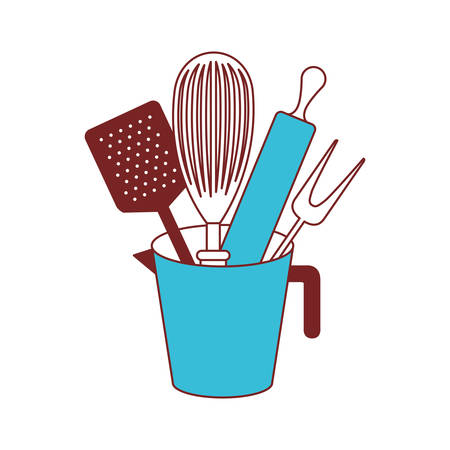 Jar with kitchen utensils and roller pin color sections silhouette vector illustration.