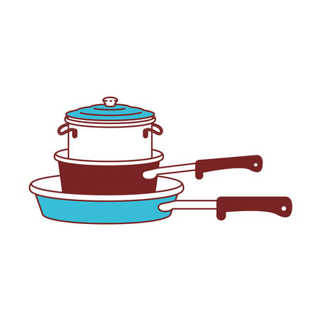 Stew pan and cooking pot stack color sections silhouette vector illustration