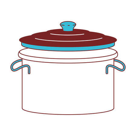 Cooking pot with lid color sections silhouette vector illustration. Illustration