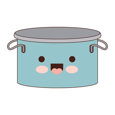 cooking pot with lid colorful kawaii silhouette vector illustration