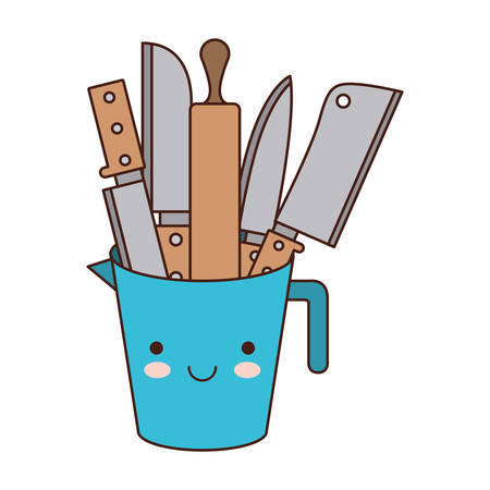 container with knives colorful kawaii silhouette vector illustration