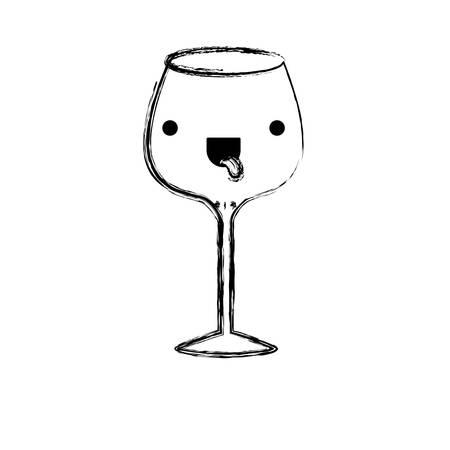 glass of champagne sour monochrome blurred silhouette vector illustration Illustration