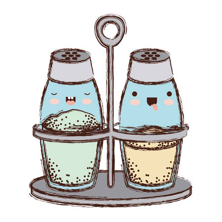 A watercolor salt and pepper containers on white background. Illustration