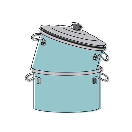 cooking pot stack colorful watercolor silhouette vector illustration Illustration