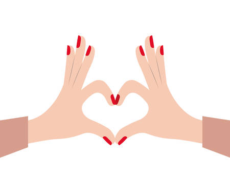 hi five: hands female forming a heart with her fingers on white background vector illustration