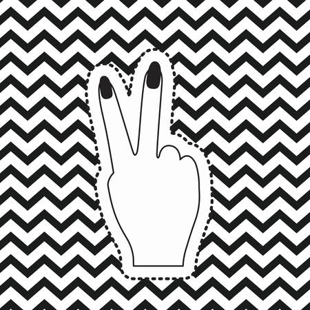 victory hand sign icon rear view sticker on pop art zig zag linear monochrome background vector illustration Illustration