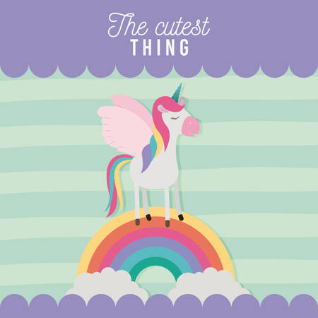 l'affiche de chose la plus mignonne avec licorne sur arc-en-ciel et lignes illustration vectorielle de fond coloré