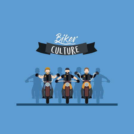 Biker culture poster with motorcyclists gang in blue background vector illustration