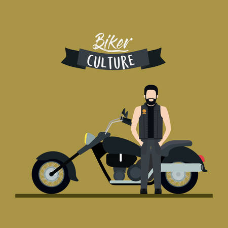 Biker culture poster with man and classic motorcycle with long telescopic fork and black fuel tank and olive color background vector illustration