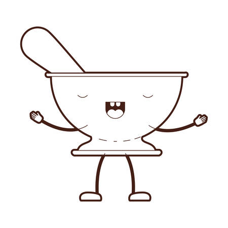 Kitchen bowl with spoon cartoon brown silhouette vector illustration