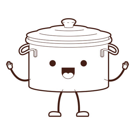 Cooking pot with lid cartoon brown silhouette vector illustration