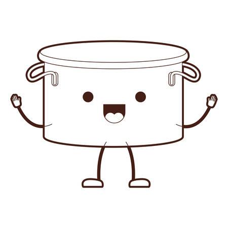 Cooking pot without lid cartoon brown silhouette vector illustration