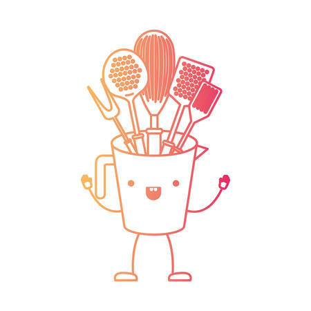 Jar with kitchen utensils cartoon character. Illustration