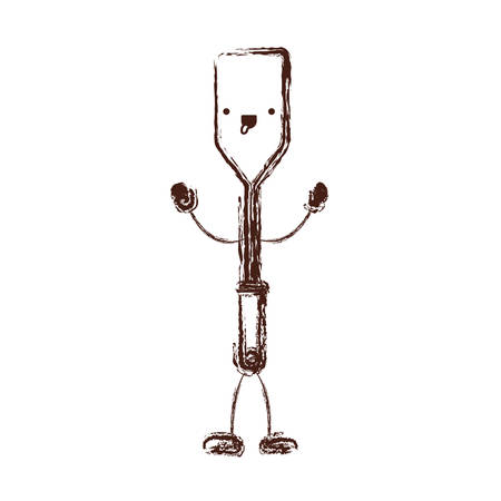 Frying square spatula cartoon character.
