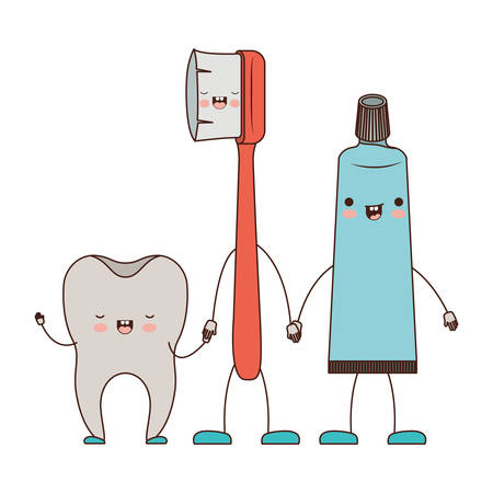 tooth and toothbrush and toothpaste in cartoon holding hands in colorful silhouette vector illustration