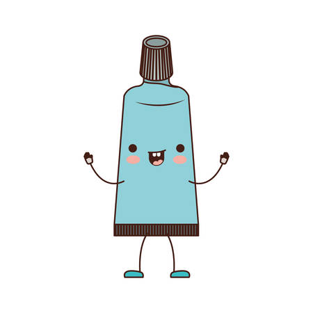 toothpaste cartoon in colorful silhouette vector illustration