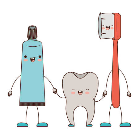 toothpaste and tooth and toothbrush in cartoon holding hands in colorful silhouette vector illustration