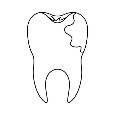 Zahn mit Wurzel und Karies von Seite in der einfarbigen Schattenbildvektorillustration Standard-Bild - 88440027