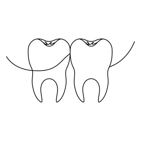 teeth with dental floss between them in monochrome silhouette vector illustration