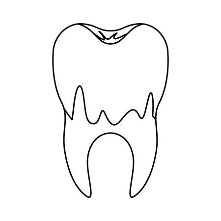 caries in the root of tooth in monochrome silhouette vector illustration