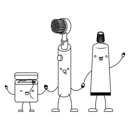 cartoon dental floss and electric toothbrush and toothpaste holding hands in monochrome silhouette vector illustration