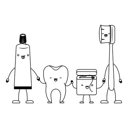 白黒のシルエットで手をつないでの漫画で歯ブラシとデンタルフロス歯磨き粉歯ベクトル イラスト 写真素材 - 88472295