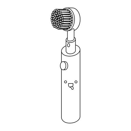 electric toothbrush monochrome silhouette vector illustration