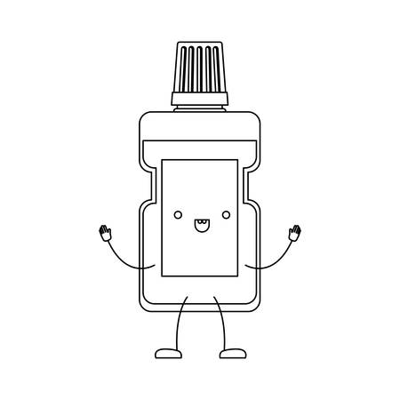 mouthwash cartoon in monochrome silhouette vector illustration